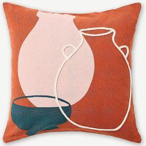 Arcilla, coussin brodé 50 x 50 cm, coton...