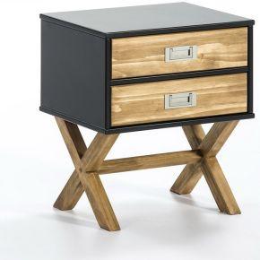 Table de chevet 2 tiroirs noir/bois - raphy - l...