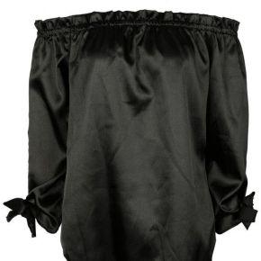 Top noir en satin Épaules nues, médiéval...