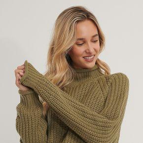 Na-kd pull en tricot À manches raglan - green