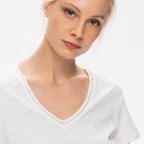 T-shirt col v femme blanc - promod