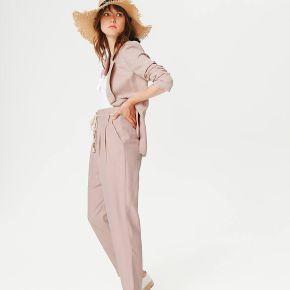 Pantalon à pinces taille haute - rose pâle - 36...