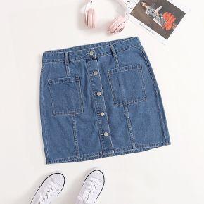 Jupe en jean à poche à bouton