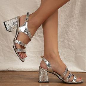 Sandales métallique à bride arrière à talons...