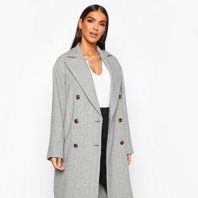 Manteau boutonné look laine À chevrons - marron...
