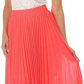 Jupe longue plissée rose fluo