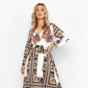 Plus robe maxi imprimé chaînes - blanc - 48,...