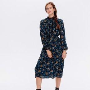 Robe midi fleurie femme imprimé noir - promod
