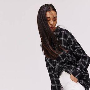 Longue chemise oversize - carreaux noirs - 36 -...