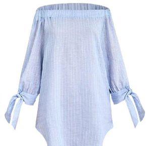 Chemise femme rayée en Épaules dénudées svelte...