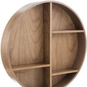 Étagère murale ronde bois naturel - hymno - l...