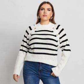 Pull à rayures avec boutons
