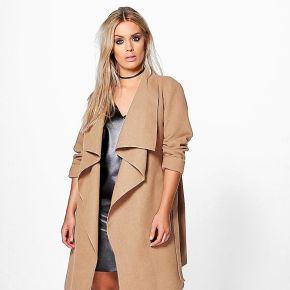 Plus manteau cache-cœur effet laine - marron...
