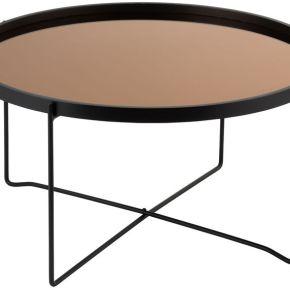 Table basse ronde métal miroir noir/cuivre -...