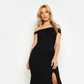 Plus - robe maxi très fendue style bardot -...