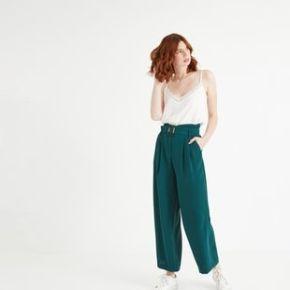 Pantalon taille haute femme vert émeraude -...