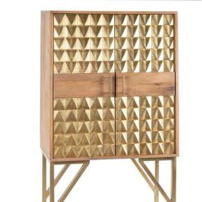Vaisselier 2 portes bois/métal doré - bakel - l...