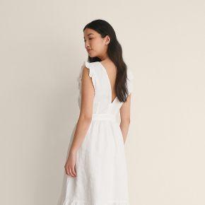 Na-kd boho dos ouvert robe en lin - white