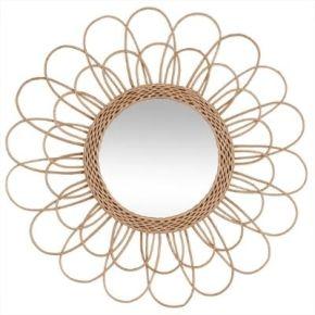 Miroir en rotin - forme de fleur - d 56 cm -...