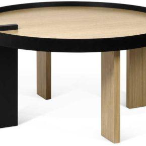 Table basse ronde bois/métal noir - alakano - l...