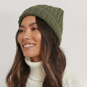 Na-kd reborn bonnet À grosses côtes - green