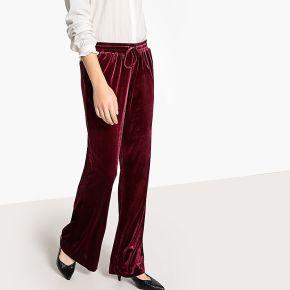 Pantalon large velours bordeaux