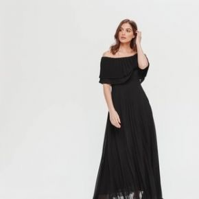 Robe plissée à encolure bardot noir - promod