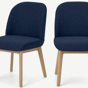 Erdee, lot de 2 chaises, tissé bleu de minuit...