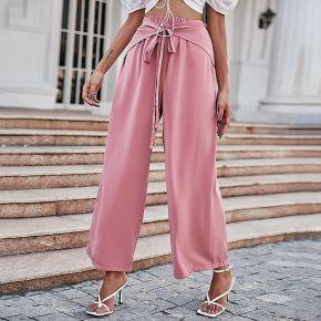 Pantalon ample unicolore à nœud