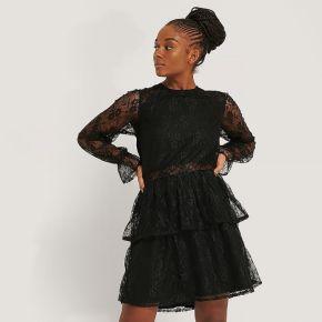 Na-kd boho robe mini en dentelle - black