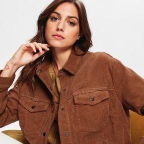 Veste en velours côtelé femme marron - promod