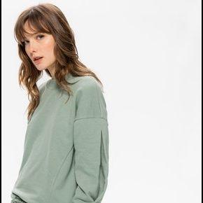 Sweat-shirt à effet de manches vert de gris -...