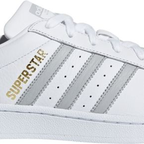Baskets basses en cuir superstar blanc adidas...